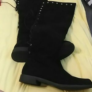 "Black suede corset boots ""Sara"" NWOT"